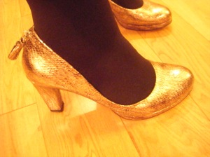 Gold shoes from Clarks